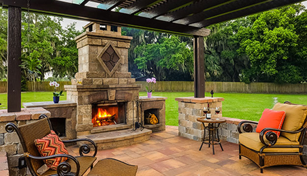 Outside Lattice Cover with Stone Fireplace